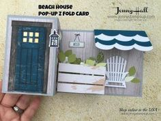 Pop Up Z Fold Beach House card featuring At Home with You, Wood Textures dsp stack, Seasonal Layers Thinlits, At Home and Wood Crate Framelits - all from Stampin' Up!