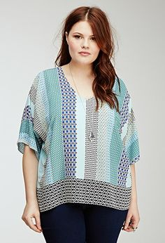 Striped Tribal Print Tunic   Forever 21 PLUS - 2000099044