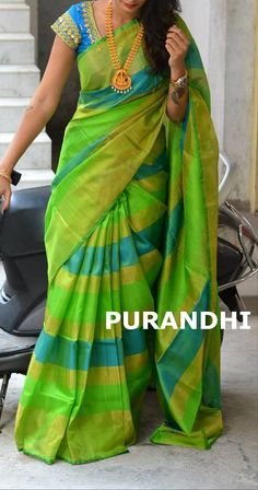 Uppada pattu Saree in Stripes Model comes with contrast plain Blouse piece. Blouse work as in image available with additional cost. Wedding Saree Blouse Designs, Pattu Saree Blouse Designs, Fancy Blouse Designs, Wedding Sarees, Trendy Sarees, Stylish Sarees, Uppada Pattu Sarees, Ikkat Saree, Silk Sarees