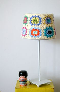 crochet lamp shade cover