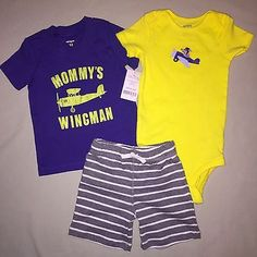 Boys 12 Months Carter's Mommy's Wingman Top Shorts Set of 3 Outfit Nwt