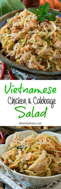 Vietnamese Chicken and Cabbage Salad - A super simple, super flavorful salad that is delicious as a main dish or side! (Chicken And Cabbage Recipes) Cabbage Recipes, Chicken Recipes, Chicken Salads, Main Dish Salads, Main Dishes, Asian Recipes, Healthy Recipes, Asian Foods, Chicken And Cabbage
