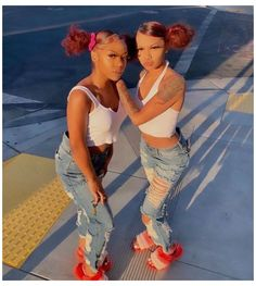 Swag Outfits For Girls, Teenage Outfits, Cute Swag Outfits, Teen Fashion Outfits, Girl Outfits, Twin Outfits, Matching Outfits Best Friend, Best Friend Outfits, Best Friend Goals