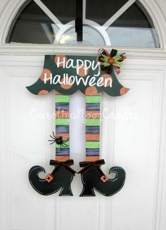Witch Legs Door Decor, Witch Legs Wreath, Happy Halloween Wreath by CarolinaMoonCrafts