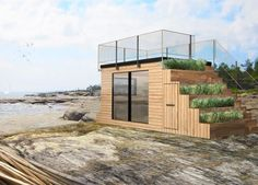 This shed packs it all in -- workspace, guesthouse, storage, seating, rooftop terrace and even a concealed kitchen. Living Roofs, Cabin Design, House Design, Rooftop Terrace, Building A Deck, Tiny House Living, Pergola Plans, Diy Pergola, Pergola Ideas
