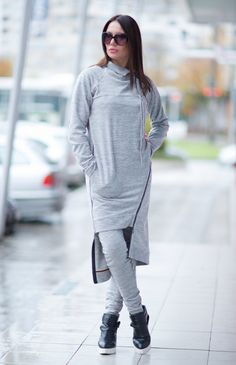 Elegant Tricot set Grey Sports Zipper Set Harem by EUGfashion