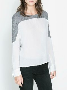Contrast White T-shirt With Split Cuffs