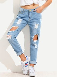 boyfriend pants on sale at reasonable prices, buy Dotfashion Blue Distressed Boyfriend Pants Female Mid Waist Button Fly Long Trousers Dual Pockets Ripped Jeans from mobile site on Aliexpress Now! Jeans Boyfriend, Pantalones Boyfriend, Vaqueros Boyfriend, Denim Jeans, Torn Jeans, Jeans Pants, Cropped Jeans, Trousers, Culotte Pants
