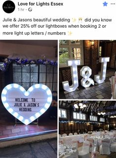 Love For Lights Essex Julie & Jasons beautiful wedding ✨🥂 did you know we offer off our lightboxes when booking 2 or more light up letters / numbers ✨ Wedding Venues Essex, Light Up Letters, Letters And Numbers, Lights, Table Decorations, Beautiful, Illuminated Letters, Lighting, Light Fixture