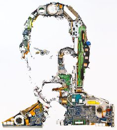 Steve Jobs tribute made from the parts of a Macbook Pro| Ben Redford, Genis Carreras