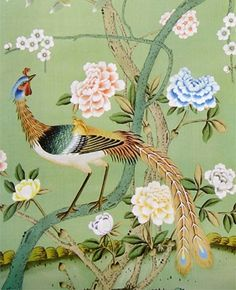 Chinoiserie Papers from NSR HANDCRAFTS The Chinoiserie designs create a warm, unique and elegant effect for your favorite room, and can be customized to many color palettes. http://www.chinese-wallpaper.com, http://www.worldsilkroad.com
