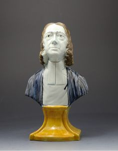 Antique Prattware bust of the Methodist preacher John Wesley. Yorkshire Pottery. (Private collection Derbyshire England)