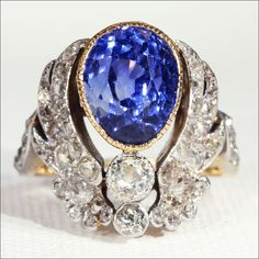Antique Art Nouveau Natural Sapphire Ring with Diamond Wings, 18k Gold from vsterling on Ruby Lane