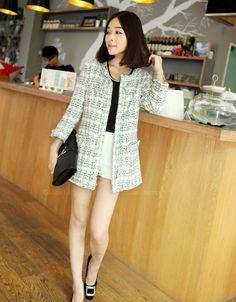 Stylish Scoop Neck Long Sleeve Plaid Coat + Shorts for Women (WHITE,S) | Sammydress.com