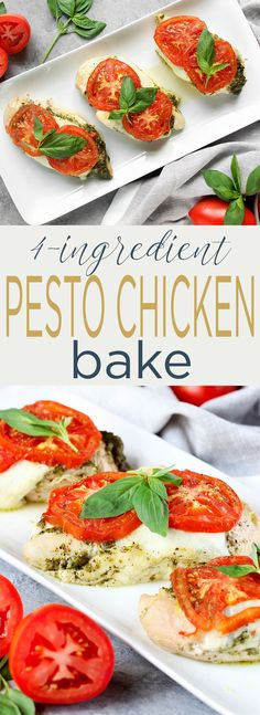 4 Ingredient Pesto Chicken Bake is healthy, simple,delicious and requires just 5-minutes prep. Juicy chicken topped with fresh pesto, melty mozzarella and topped with vine ripened tomatoes. via @Simply Sissom