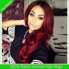 Cheap wig male, Buy Quality wig platinum directly from China wig red Suppliers: Free Shipping 7A Remy Middle Part Glueless Full Lace Wig Ombre Lace Front Wigs For Black Women Two Tone #1b/Red Lace Wig