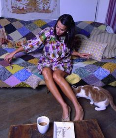 ,Ethically aware fashion designer, Jessica Ogden, who is inspired by vintage fabrics and styling.