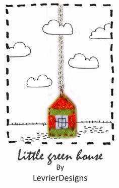 Little green house by LevrierDesigns  Felt jewellery.