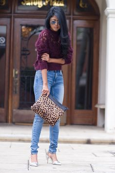 Walk in Wonderland. Beautiful H&M plum sweater + animal print clutch + casual jeans and silver heels.