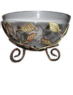 Glass Bowl With Metal Basket..FREE SHIPPING