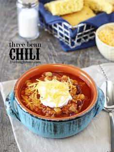Super easy and delicious!  Three Bean Chili with livelaughrowe.com