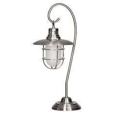 For living room: Lanterna Polished Steel Table Lamp Urban Barn, Steel Table, Home Lighting, Floor Lamp, Office Decor, Barware, Table Lamp, Lights, Furniture