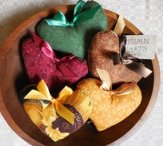 Primitive AUTUMN Heart  Bowl Fillers Fall Color Sunflower Tucks by #auntiemeowsprims on Etsy #hdmetsy