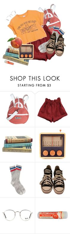 """the school library closes at 4:30"" by nogardea ❤ liked on Polyvore featuring J.Crew, Converse and Ray-Ban"