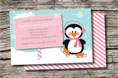 PENGUIN PARTY Winter Wonderland Birthday by PaperHeartCompany, $20.00