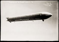Zeppelin airship in flight July 3, 1908. Photographed on a glass negative. Published by the Bain News Service.