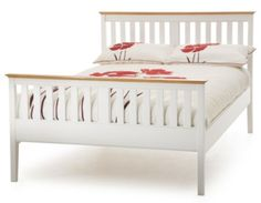Serene Grace King Size White Wooden Bed Frame with High Foot End by Serene Furnishings White Wooden Bed, Wooden Bed Frames, Wood Beds, Super King Bed Frame, Bed Frames For Sale, Loft Bed Frame, Superking Bed, Toddler Bed, Furniture
