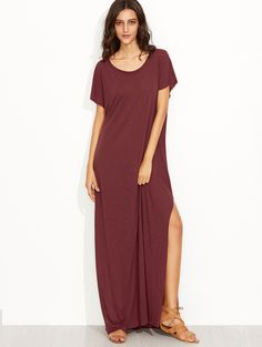 Online shopping for Burgundy Side Slit Loose Fit Maxi Tee Dress from a great selection of women's fashion clothing & more at MakeMeChic.COM.