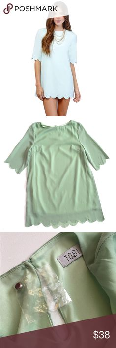 """Tobi 'Sweetly Scalloped' Mint shift dress Tobi 'Sweetly Scalloped' Mint shift dress. Length is approx 32"""" from shoulder to hem. Never worn (extra button still attached) but seam under arm is slightly loose (see pic) Tobi Dresses"""