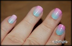 Using a makeup sponge to create the gradient look on nails! Easier than I thought. Gradient Nails, Rainbow Nails, Pastel Gradient, Ombre Nail, Sponge Nails, Cotton Candy Nails, Nail Techniques, Moisturizer For Dry Skin, Nail Tutorials