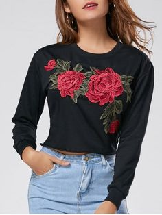 Floral Embroidered Crew Neck Crop Sweatshirt d96b86d90