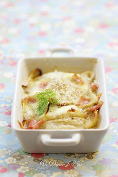 Roasted Fennel Gratin with Mozzarella and Mortadella (somebody please translate this recipe and send it to me)