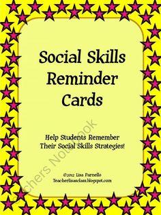 Social Skills Reminder Cards from Teacher Lisas Shop on TeachersNotebook.com (6 pages)