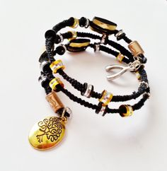 Beaded Macrame Memory Wire Wrap Bracelet by SignatureEnchantment, $23.00