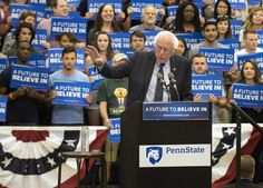 Bernie Sanders, candidate for the Democratic nomination for President of the United States, visited Penn State's Recreation Hall for a rally on the evening of April 19. (Photo by Penn State on Flickr)