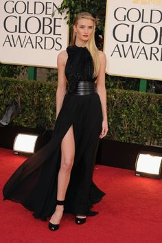 Rosie Huntington-Whiteley in Saint Laurent on the Golden Globes 2013 red carpet.