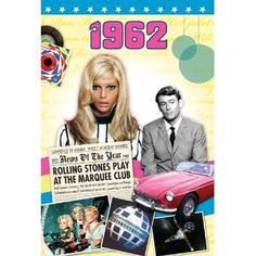 A 1962 DVD documentary film (60 minutes) comes attached to a two-fold 1962 greeting card (blank inside) to create a fabulous gift for anyone born (or married) in this year. http://www.amazon.co.uk/gp/product/B007U79WCS/ref=as_li_ss_tl?ie=UTF8=1634=19450=B007U79WCS=as2=herbnews-21  £12.50