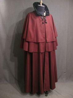 09025493 Cape Mens burgundy wool black velvet stand collar CB Length 54.JPG