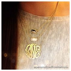 a Monogram Necklace and two Kendra Scott necklaces layer perfect together!