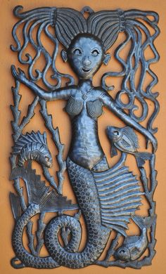 Mermaid Metal Wall Art Sculpture