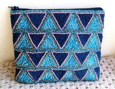 Beaded clutch - Handmade beaded art deco pouch / wallet / purse / clultch / handbag by HandcraftLab