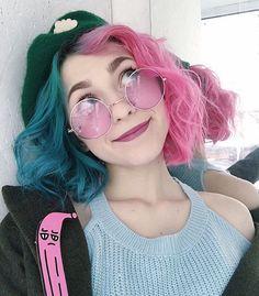 half Pink half blue hair