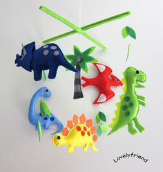 "Mobile -Baby Crib Mobile - Baby Mobile - Crib mobiles - Felt Mobile - Nursery mobile - "" Dinosaur and Coconut Palm Tree "" Design. $78.00, via Etsy."