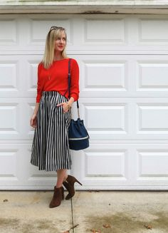 J. Crew striped midi skirt, midi skirt with ankle boots, bucket bag, fall fashion 2015