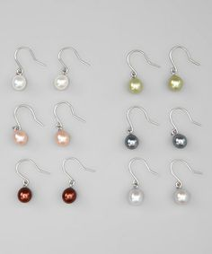 Take a look at this Green & Pink Freshwater Pearl Earrings Set by KWAN COLLECTIONS on #zulily today!
