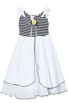 89d9d461a93 Navy Blue Striped Stretch Knit   Two Tier White Chiffon Sundress (Girls 2T  - Size 12) - Rachel s Promise